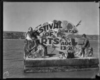 Newport Beach water parade, float representing Laguna Beach Festival of Arts, Newport Beach, 1932