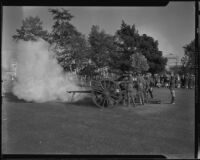 California National Guard members firing cannon, [Los Angeles?]