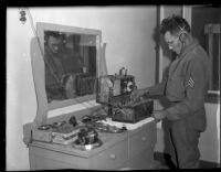 Arizona National Guard sergeant Ernest Mendoza transmitting report by radio, near Parker, Arizona, 1934
