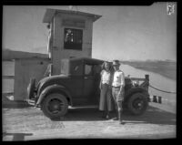 Ferry Nellie Jo, protecting Colorado River from construction of Parker Dam, near Parker (Arizona), 1934