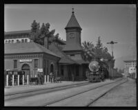 Santa Fe railroad station and train, Pasadena, 1935