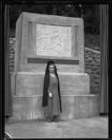 Senora Louisa Arenas de Stanchfield presiding over the dedication of Pioneers Monument in Ganesha Park, Pomona, 1934