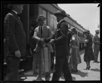 William Jennings Bryan, Jr. at train station, [Los Angeles?], 1934