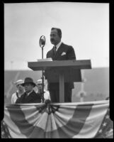 William Jennings Bryan, Jr., speaking at Armistice Day observance, Los Angeles Memorial Coliseum, Los Angeles, 1934