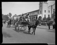 Horse-drawn buggies, Old Timers Parade, Riverside, [1933?]