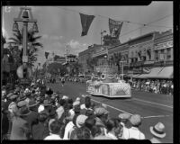 Orange Parade, Sunkist/California Fruit Growers Exchange float, Riverside, 1933