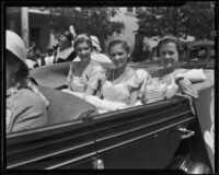 Orange Parade, Pageant Queen Edna Knoll and two maids of honor riding in car, Riverside, 1933