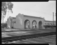 Street car stop at the California Pacific International Exposition in Balboa Park, San Diego, 1935-1936