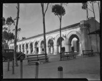 Arcade near the entrance to the California Pacific International Exposition in Balboa Park, San Diego, 1935-1936