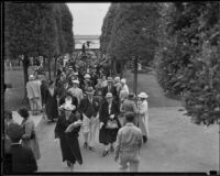 Visitors entering the California Pacific International Exposition in Balboa Park, San Diego, 1935-1936