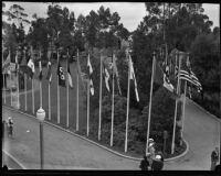 International flags on display at the California Pacific International Exposition, San Diego, 1935-1936