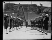 Navy sailors provide a fanfare of bugles at the California Pacific International Exposition, San Diego, 1935-1936