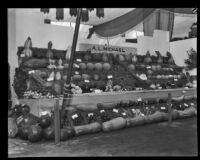 Vegetable exhibit at the Southern California Fair, Riverside, 1929