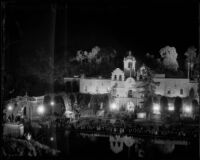 Night time view towards the House of Charm at the California Pacific International Exposition, San Diego, 1935-1936