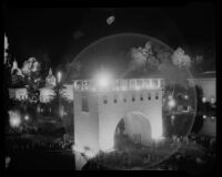 Night time view towards the  Arco del Porvenir at the California Pacific International Exposition, San Diego, 1935-1936