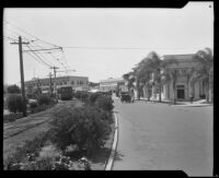 Street scene with businesses and a street car, Coronado, 1920-1939