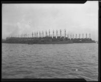 View across the water towards the Naval Station, San Diego, 1922-1939