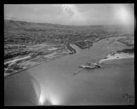 Los Angeles Harbor, San Pedro, aerial view, [1930s?]