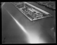 Wharves and warehouses, Los Angeles Harbor, San Pedro, aerial view, [1930s?]