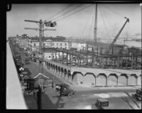 San Pedro Municipal Building under construction, San Pedro, 1928