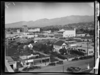 Bird's-eye view of Carrillo Street and State Street, Santa Barbara, [1926-1929?]