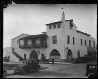 La Placita building seen from E. De La Guerra St., Santa Barbara, circa 1929