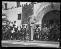 Dedication ceremony at the entrance to the Santa Barbara County Courthouse, Santa Barbara, 1929