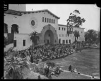 Spectators at the dedication of the Santa Barbara County Courthouse, Santa Barbara, 1929