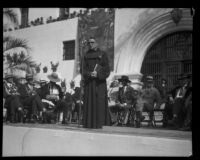 Father Augustine Hobrecht participating in the dedication of the Santa Barbara County Courthouse, Santa Barbara, 1929