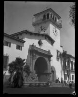 View of the Anacapa Arch at the newly completed Santa Barbara County Courthouse, Santa Barbara, 1929