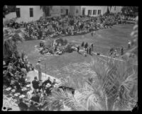 Birdseye view of the dedication ceremony for the Santa Barbara County Courthouse, Santa Barbara, 1929