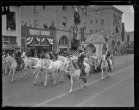 Santa Barbara Fiesta, horse-drawn float in parade, Santa Barbara, 1927
