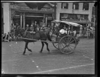 Santa Barbara Fiesta, horse-drawn cart in parade, Santa Barbara, 1927