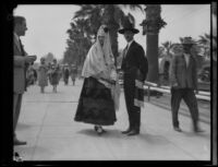 Santa Barbara Fiesta, couple dressed as early Californians, Santa Barbara, 1927