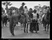 Santa Barbara Fiesta, people dressed as early Californians and as Juan Cabrillo, Santa Barbara, 1927