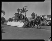 """Santa Maria"" float in the parade for the Old Spanish Days Fiesta, Santa Barbara, 1932"