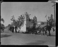 """Mission Santa Barbara"" float in the parade for the Old Spanish Days Fiesta, Santa Barbara, 1932"