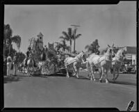 Float with a tower in the parade for the Old Spanish Days Fiesta, Santa Barbara, 1932