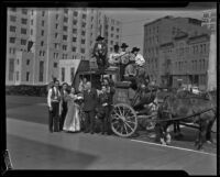 Stagecoach bound for the Santa Barbara Old Spanish Days Fiesta, Los Angeles, 1932