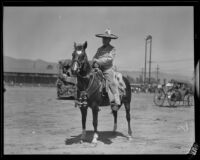 Rider on horseback at the Old Spanish Days Fiesta, Santa Barbara, 1932