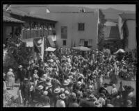 Spectators watching a performance at the Old Spanish Days Fiesta, Santa Barbara, 1932