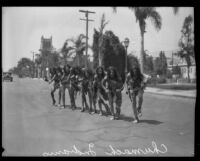 Men representing Native American Chumash people in the parade for the Old Spanish Days Fiesta, Santa Barbara, 1930