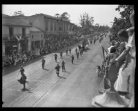 Men dressed as Conquistadors in the parade for the Old Spanish Days Fiesta, Santa Barbara, 1930