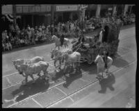 Saint Barbara float in the parade for the Old Spanish Days Fiesta, Santa Barbara, 1930