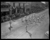 Elks B.P.O.E. No. 613 marching drummers in the parade for the Old Spanish Days Fiesta, Santa Barbara, 1930