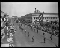 Conquistador, monks, and soldiers in the parade for the Old Spanish Days Fiesta, Santa Barbara, 1930