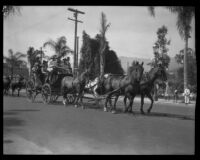 Stagecoach  in the parade of the Old Spanish Days Fiesta, Santa Barbara, 1930