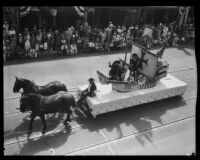 Spanish Galleon Float in the parade of the Old Spanish Days Festival, Santa Barbara, 1930