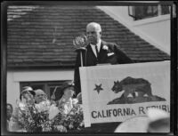 California governor James Rolph speaking at the dedication of the California Institution for Women, Tehachapi, 1932