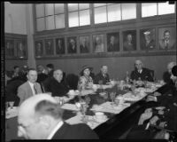 Newspaper publisher Frank Barham, William Simpson and other guests at dinner or luncheon, Los Angeles, [1930s?]